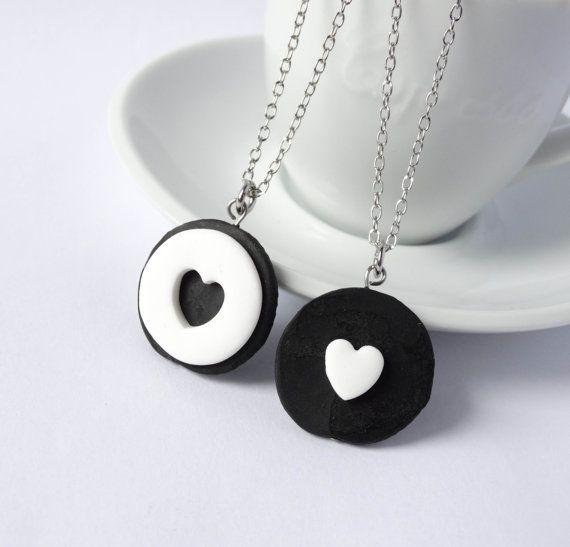 Oreo friendship necklace 2 piece best by ShinyStuffCreations
