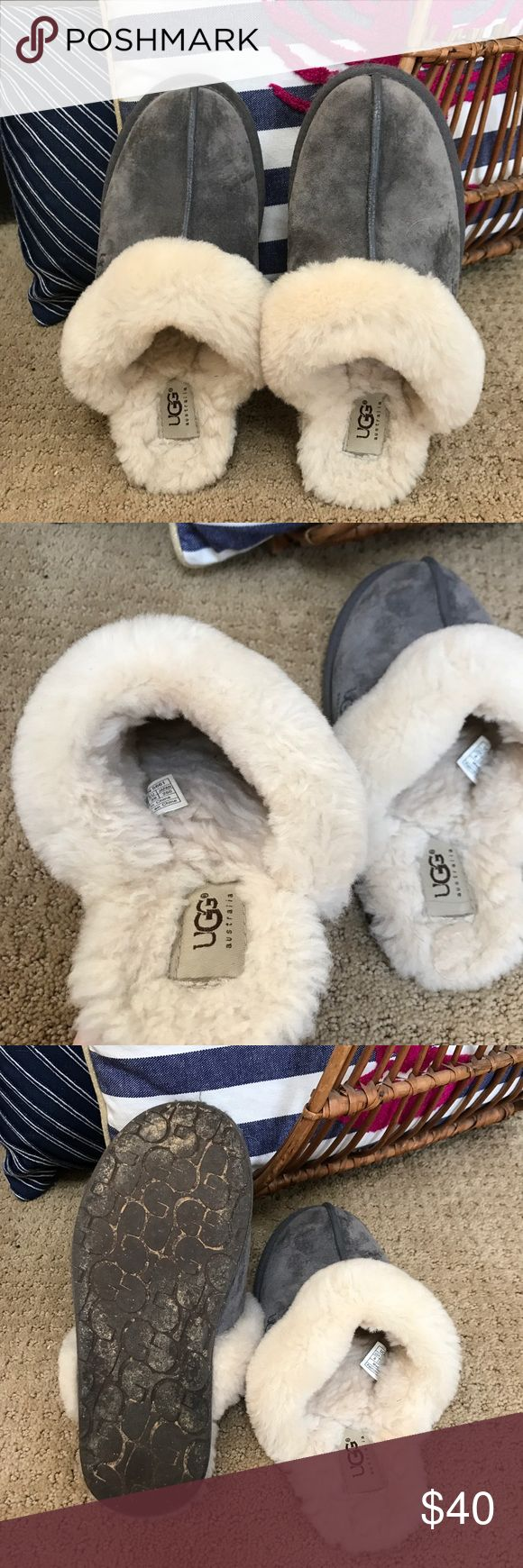 Ugg Grey Slippers Excellent condition, just have normal marks of wear on the bottom (worn few times). They are more for size 5 to 7, although it says size 8 UGG Shoes Slippers