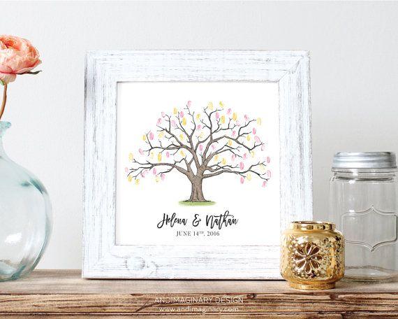 "Printable & Customizable Wedding Guest Book Fingerprint Tree / Thumbprint Tree // Digital Illustration // Wedding Memory Print // 12x12"""