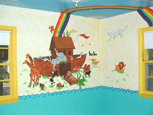 Nice Noahu0027s Ark Wall Mural With Rainbow Part 23