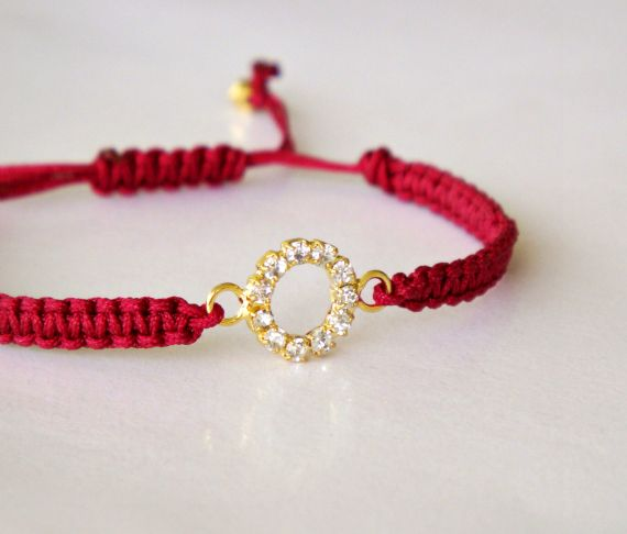 Rhinestone Circle - Macrame Friendship Bracelet - Wine Red and Gold