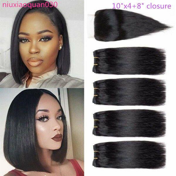 Brazilian Hair 4 Bundles With Closure Short Straight Hair Weave Natural Color Bundles Straight Weave Hairstyles Remy Human Hair Weave Brazilian Straight Hair