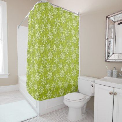 Snowflakes Pattern on Green Shower Curtain - drawing sketch design graphic draw personalize