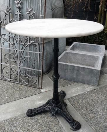 """French antique Bistro table with ornate base and marble top: 27.25"""" H x 23.5"""" W x 23.5"""" D-"""