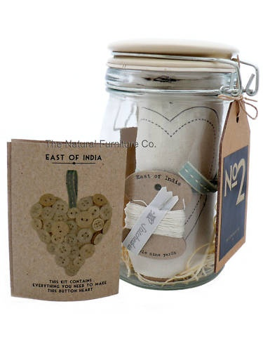 East Of India Hanging Button Heart Sew Kit In Glass Jar