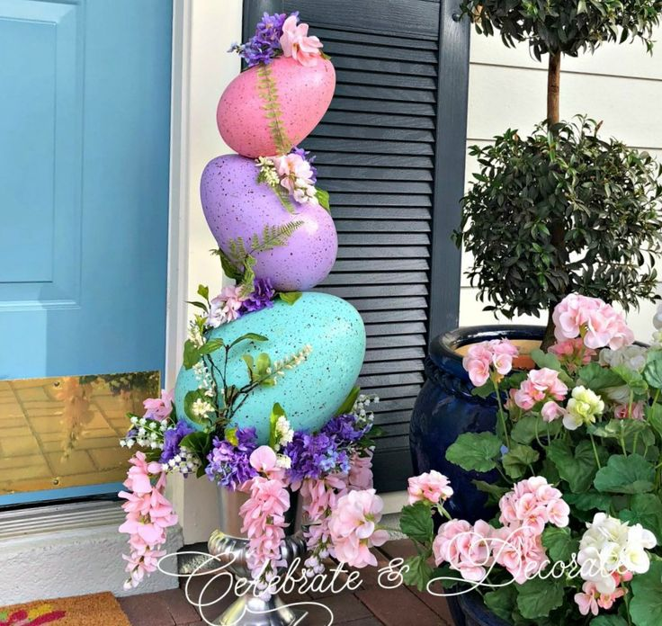 Make an Easter egg topiary from giant Easter eggs found at your local craft store for a fun and easy Easter decoration!