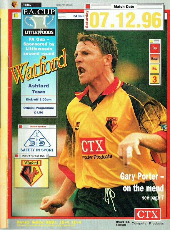 Watford 5 Ashford Town 0 in Dec 1996 at Vicarage Road. The programme cover for the FA Cup 2nd Round tie.
