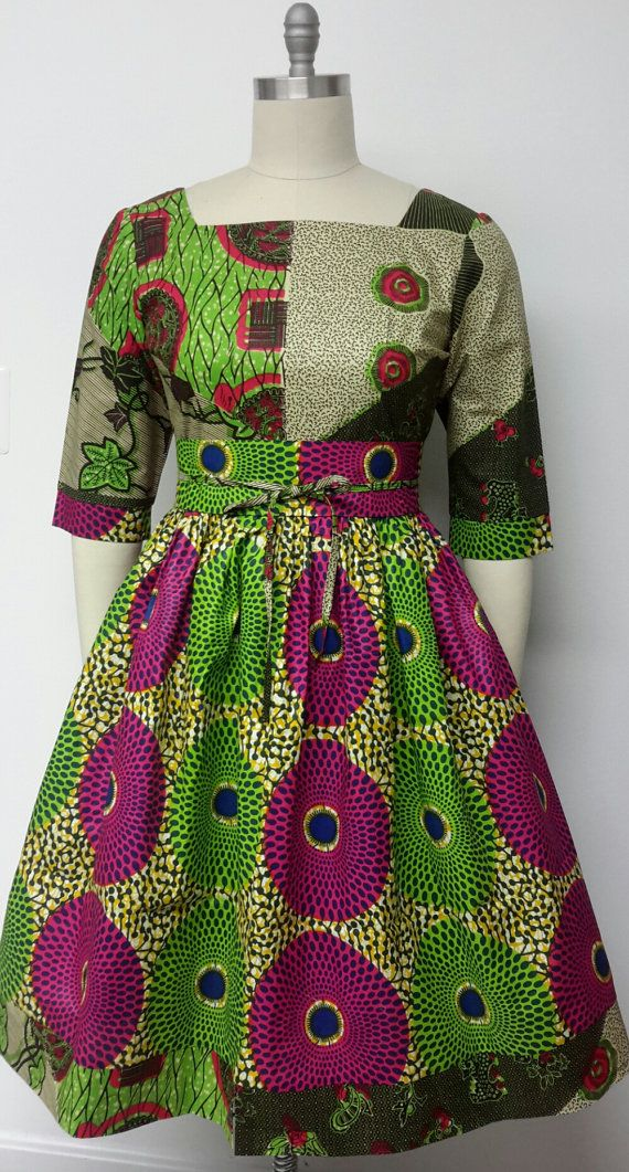 African Print Fitted Waist Dress. Mid-Low back. Inside Pockets. Obi Sash. Womens…