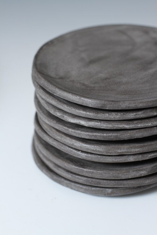 Charcoal Stoneware Side plates - Small Plates, 5 inches wide - stone ware handmade ceramic plates - individual or set - Ready to ship. $24.00, via Etsy.