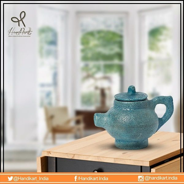 #February #newcollection, A #royal looking hand painted blue Tea Cattle-cups for calssy morning! #handikart_india. https://www.handikart.co.in/all-products/mughal-blue-pottery/mughal-blue-pottery-kettle.html