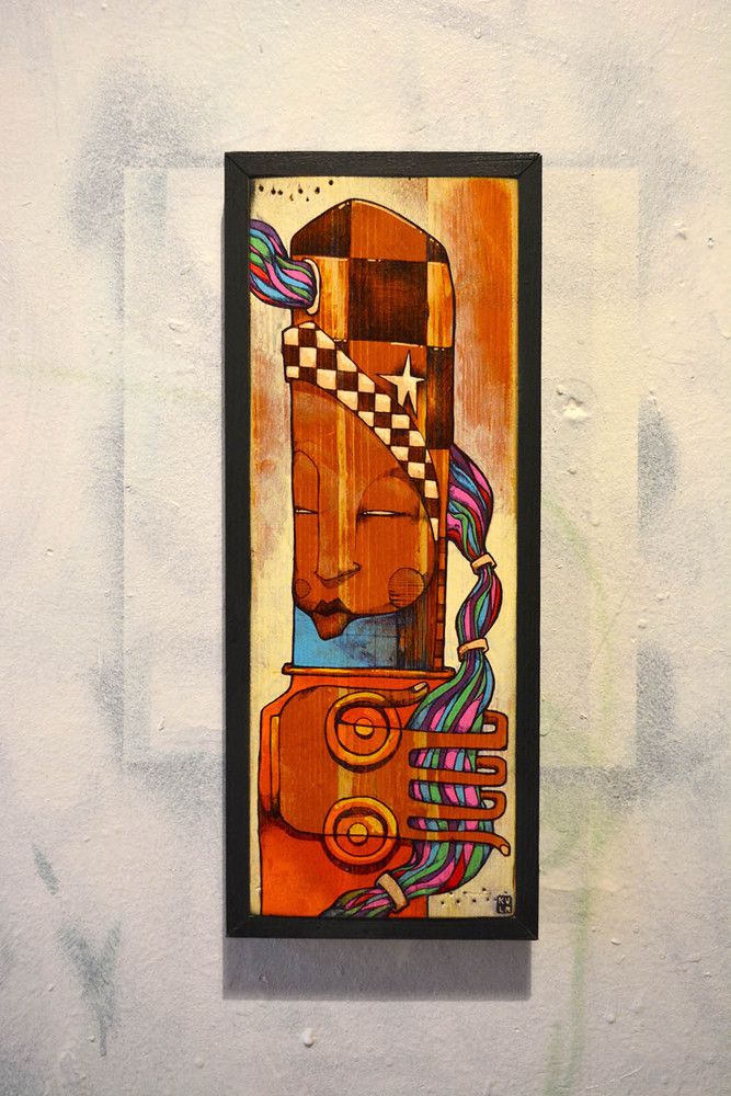 One off original piece.Artist: KVLRMedium: Acrylic and ink on wood.Framed130mm x 360mm (approx)Free shipping UK