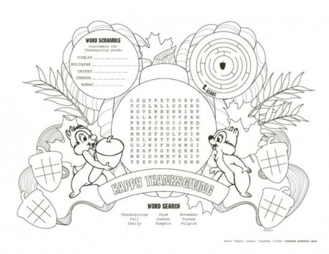 Disney Thanksgiving Printables to Download and Color