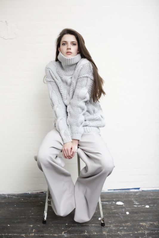 high neck, texture, wide leg pants.  pale color. all good.: