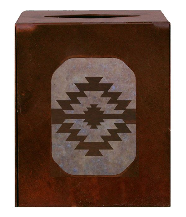 Desert Diamond Southwestern Metal square boutique Tissue Box Cover for the Southwestern Decor style home can be used in the bathroom, living room, or den. american made western southwest bath,