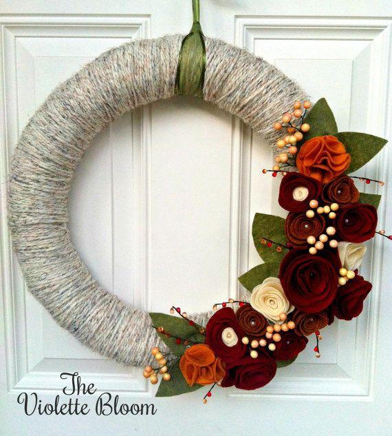 Fall wreath, Yarn Wreath, fall decor, felt flower wreath, holiday wreath, front door decor, mantel decoration