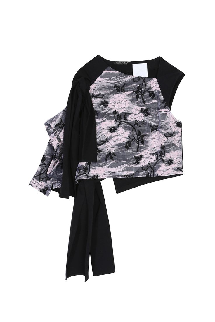 <p>Black & pink floral luxe jersey top features functioning knots that tie at the front and back. The ...