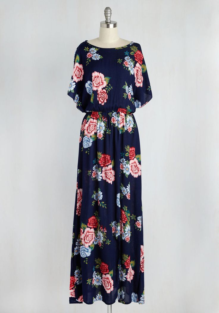 Gazebo Goddess Dress. As ethereal as the cherry blossoms blooming around you, this navy blue maxi dress embodies your grace and grandeur. #multi #modcloth