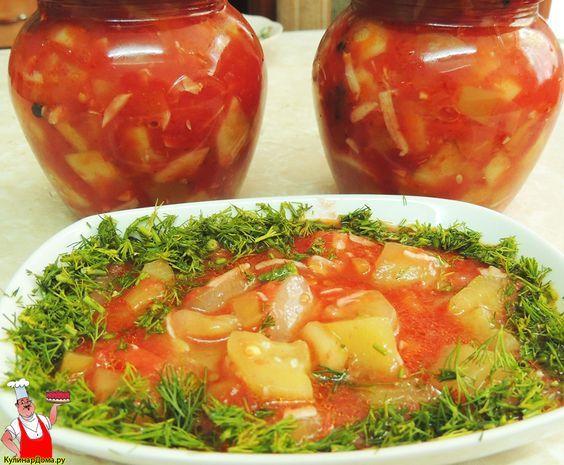 Кабачки в томате на зиму (рецепт с фото).