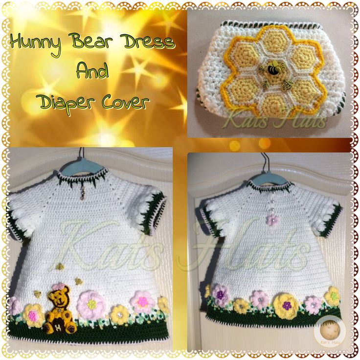 Winnie the Pooh inspired crochet dress and Honey Comb Diaper Cover.  Available at http://facebook.com/Kats.hats.1