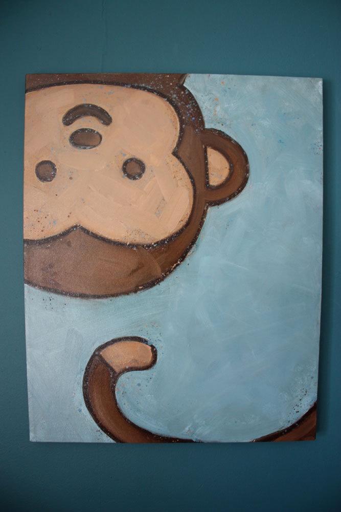 Monkey Children's Wall Art 16x20 Original Canvas by WubsyStore