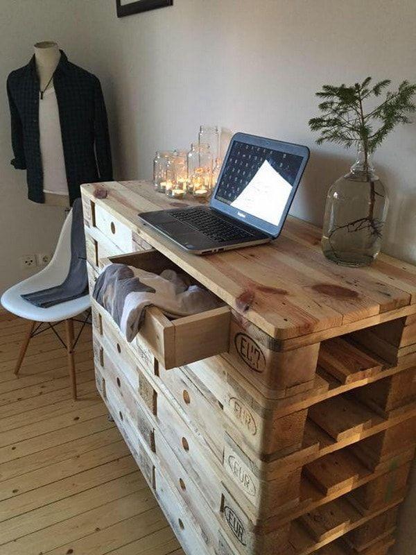 Cómoda hecha con palets de madera                                                                                                                                                                                 Más