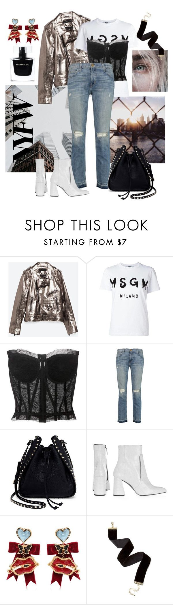 """""""Full metal jacket"""" by sophier on Polyvore featuring Piel Leather, MSGM, Dolce&Gabbana, Current/Elliott, Valentino, Topshop, Dsquared2 and Narciso Rodriguez"""