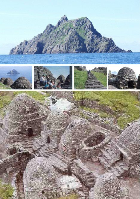 """Skellig Michael, an inhospitable rocky island 10 miles off the coast of County Kerry, Ireland, is one of Ireland's oldest and most famous monasteries. The long-suffering monks, rarely more than a dozen or so, lived in cold & gloomy """"beehive"""" huts made of stone from the year 588 to sometime in the 12th century when they moved to the Irish mainland."""