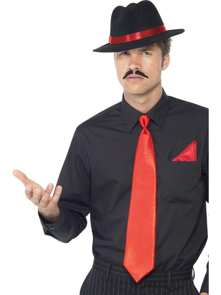 Gangsterin setti, punainen. Sisältää hatun, solmion ja taskuliinan.