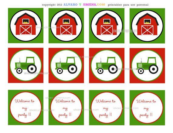 Farm Party Toppers/Party CirclesPRINTABLE diy by AlvaroyJimena, $5.00