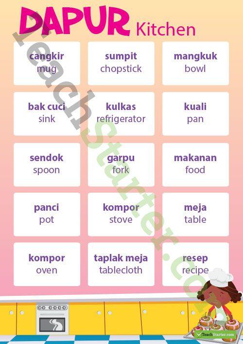Kitchen – Indonesian Language Poster Teaching Resource