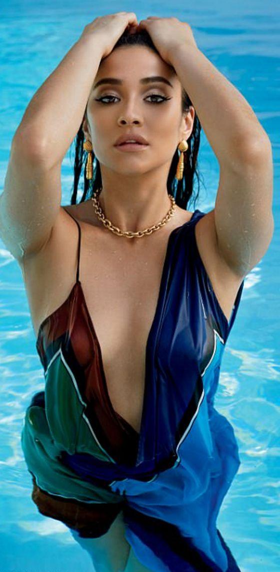 Who made Shay Mitchell's blue print maxi dress?