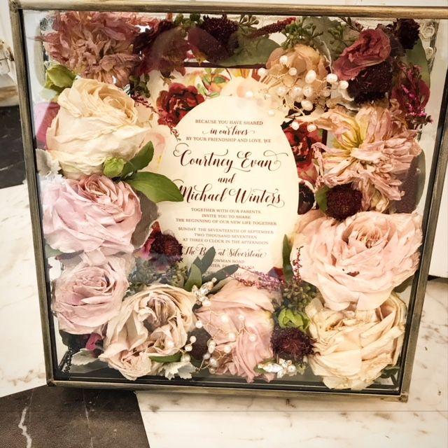 Bouquet Preservation In Pretty Glass Shadow Box Wedding Bouquet