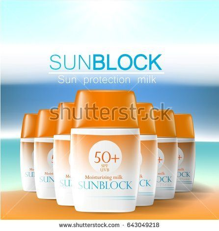 Sunblock ads template, sun protection cosmetic products. 3D illustration for magazine or ads.Bottle products design with moisturizer milk, cream or liquid.