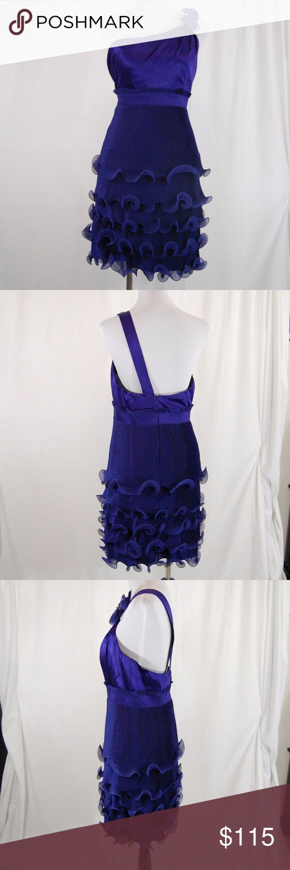 """Special Occasion One Shoulder Purple Dress Phoebe Couture (at Neiman Marcus).  100% silk. Back zipper. Lined. Built in bust cups.  Vertical folds and ruffle skirt is super flattering. One shoulder with flowers on the strap.  Excellent condition - worn once and dry cleaned. There is a small (less than 1/2 inch) black mark on a layer of ruffle at the skirt. Impossible to see unless looking for it (see pic with arrow).  Approx Measurements (taken flat): Length (shoulder of strap to hem) = 39""""…"""
