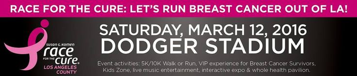 Have you registered for this year's Race For The Cure? We hope to see you at Dodger Stadium on Saturday, March 12! Register today: http://komenlacounty.org/race #RFTC2016