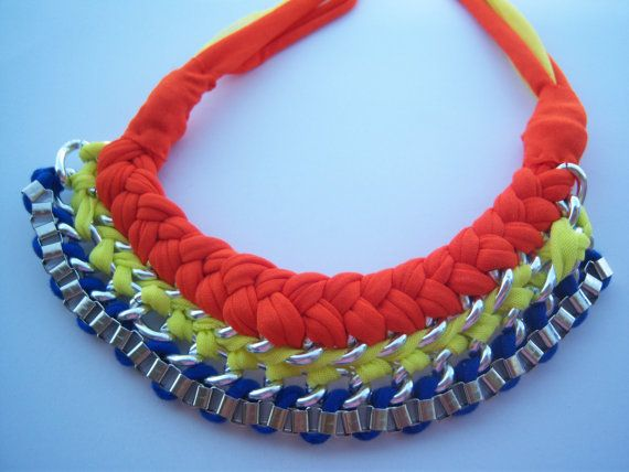 necklace woven chains by hara75 on Etsy, $18.00
