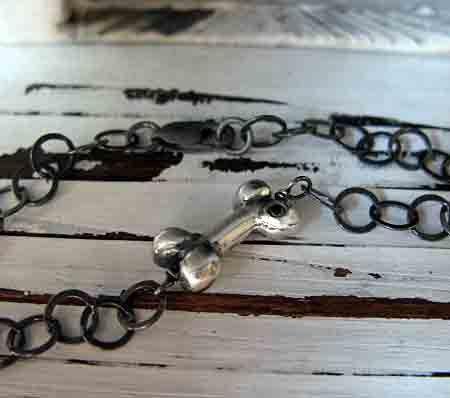 Dog Bone with Black Diamond Bracelet FREE by HotRoxCustomJewelry, $59.00