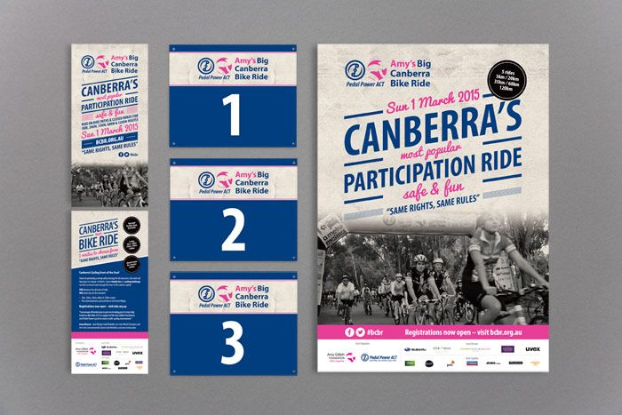 pedal power amy's big canberra bike ride branding, flyer, poster and number plates http://www.spectrumgraphics.com.au/