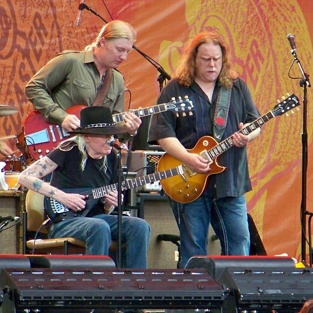 Johnny Winter, Derek Trucks & Warren Haynes 2010 Crossroads Guitar Festival. (Photo by Kurt Foor)