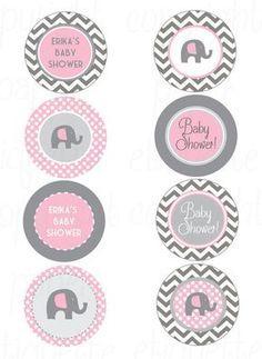 Chevron de color rosa y gris elefante bebé ducha por PaperEtiquette