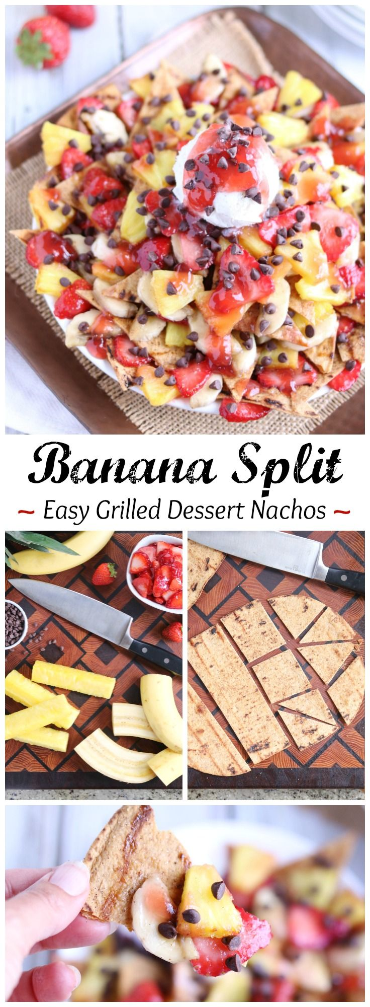 """An easy, fun, and surprisingly healthy dessert! This unique dessert nachos recipe has all the flavors of a classic banana split! Crispy, sweetened """"nacho chips,"""" caramelized fruit, and a delicious strawberry sauce! Even better with a little scoop of ice cream! A simple yet decadent family favorite! {ad}   www.TwoHealthyKitchens.com"""