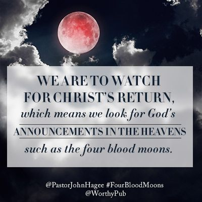 We are to watch for Christ's return- announcements in the Heavens such as the 4 Blood Moons! Study to be ready to move with Yahweh/God in these exciting times. Study online with Magnificat Meal Movement groups   www.magnificatmealmovement.com
