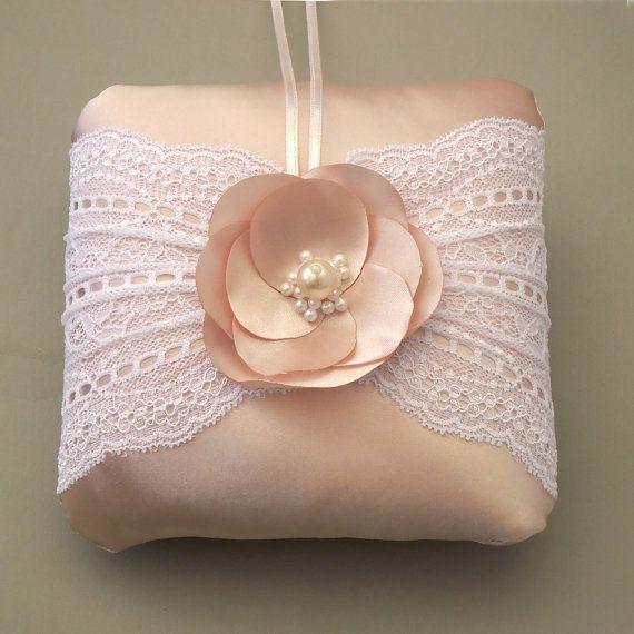 Pastel pink bridal ring bearer pillow lace by MammaMiaBridal, $38.00