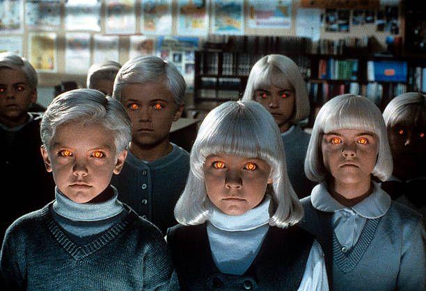 Alien Children In A Scene From The Film Village Of The Damned 1995 Creepy Kids Evil Children John Carpenter