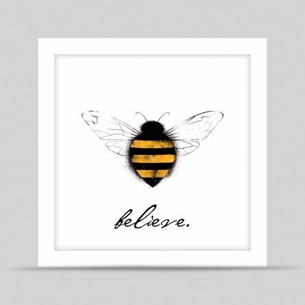 White Bee Believe Framed Art Print