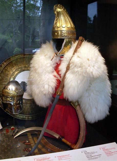 Reconstructed Dacian armor, Colosseum museum, Rome