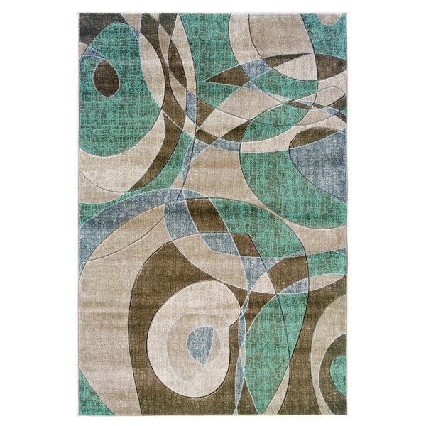 Oh Home Milan Collection Brown Turquoise Geometric Area Rug 8 X 10 RugLiving Room