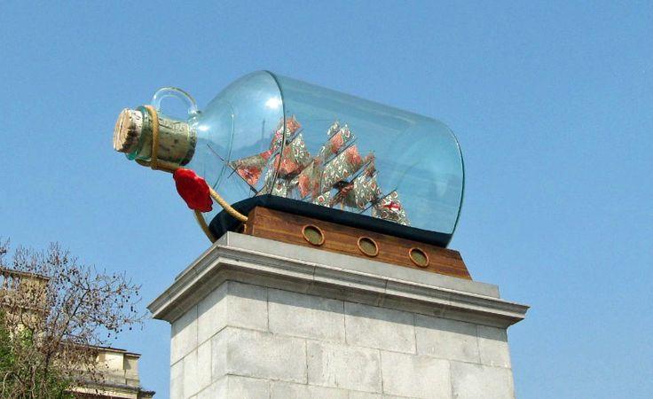 Nelson's ship on the empty plinth, Trafalgar Square, London