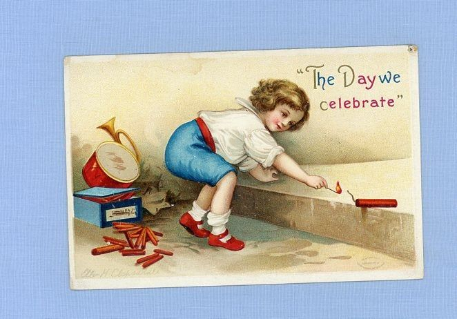Independence Day Postcard, Patriotic, Circa 1910, Boy Lighting Firecracker, Unposted