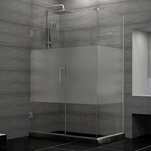 frosted glass shower enclosure. DreamLine Shen-24330340-HFR-04 Unidoor Plus 33 In. W X 34-3/8 D 72 H Hinged Shower Enclosure, Half Frosted Glass Door, Brushed Nickel Enclosure R